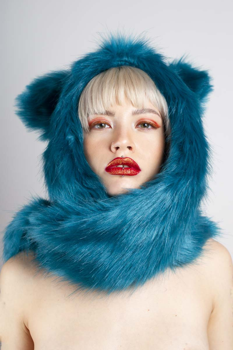 TOXIK FUR SCARF HOOD WITH EARS AND POCKETS BLUE